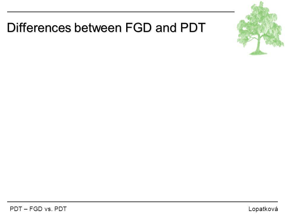 Differences between FGD and PDT PDT – FGD vs. PDT Lopatková