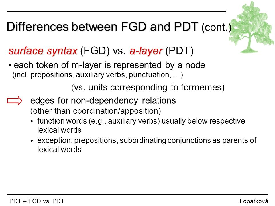Differences between FGD and PDT Differences between FGD and PDT (cont.) PDT – FGD vs. PDT Lopatková surface syntax a-layer surface syntax (FGD) vs. a-