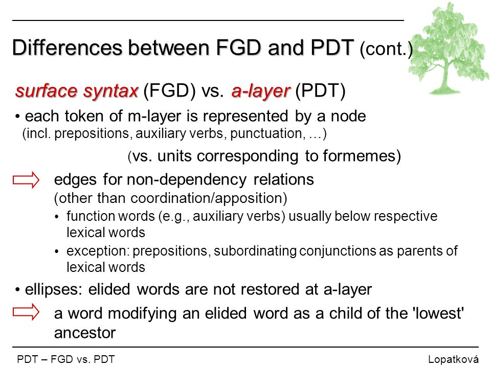 Differences between FGD and PDT Differences between FGD and PDT (cont.) PDT – FGD vs. PDT Lopatková surface syntaxa-layer surface syntax (FGD) vs. a-l