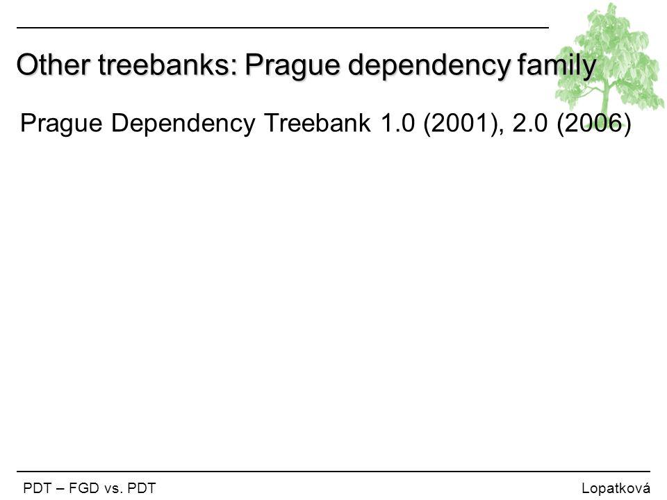 Other treebanks: Prague dependency family PDT – FGD vs. PDT Lopatková Prague Dependency Treebank 1.0 (2001), 2.0 (2006)