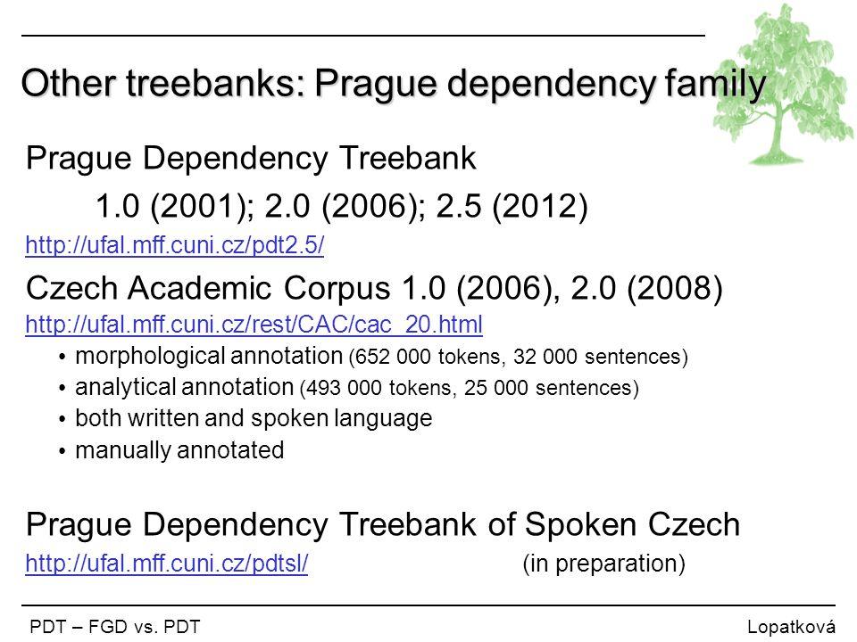 Other treebanks: Prague dependency family PDT – FGD vs. PDT Lopatková Prague Dependency Treebank 1.0 (2001); 2.0 (2006); 2.5 (2012) http://ufal.mff.cu