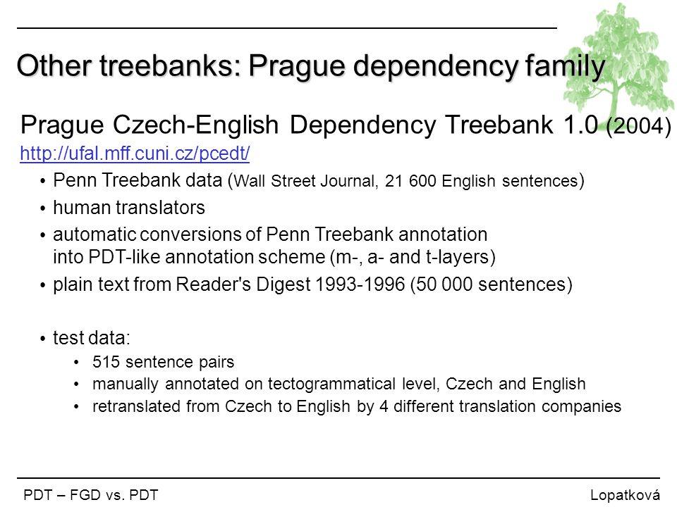 Other treebanks: Prague dependency family PDT – FGD vs. PDT Lopatková Prague Czech-English Dependency Treebank 1.0 (2004) http://ufal.mff.cuni.cz/pced