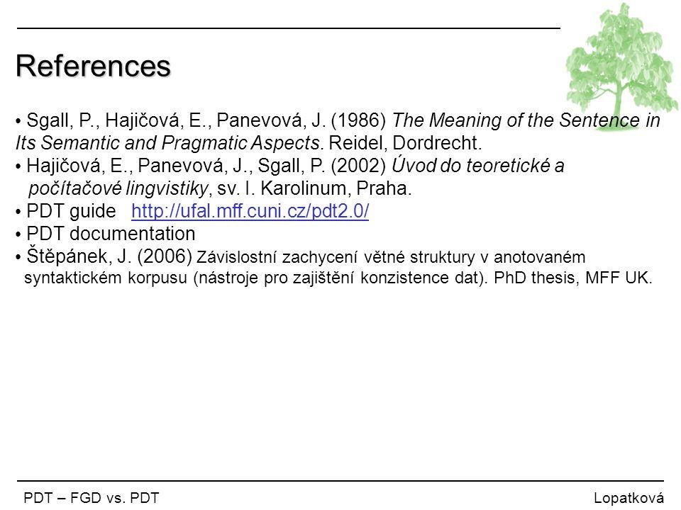 References Sgall, P., Hajičová, E., Panevová, J. (1986) The Meaning of the Sentence in Its Semantic and Pragmatic Aspects. Reidel, Dordrecht. Hajičová