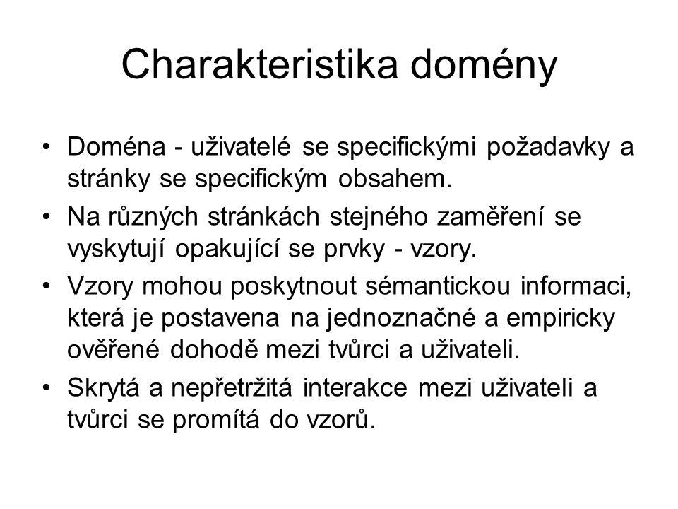 Charakteristika domény Doména - uživatelé se specifickými požadavky a stránky se specifickým obsahem.