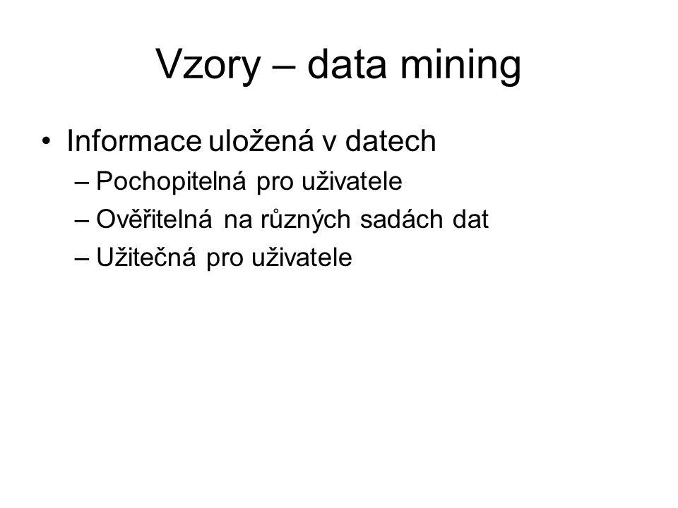 Vzory – data mining Informace uložená v datech –Pochopitelná pro uživatele –Ověřitelná na různých sadách dat –Užitečná pro uživatele