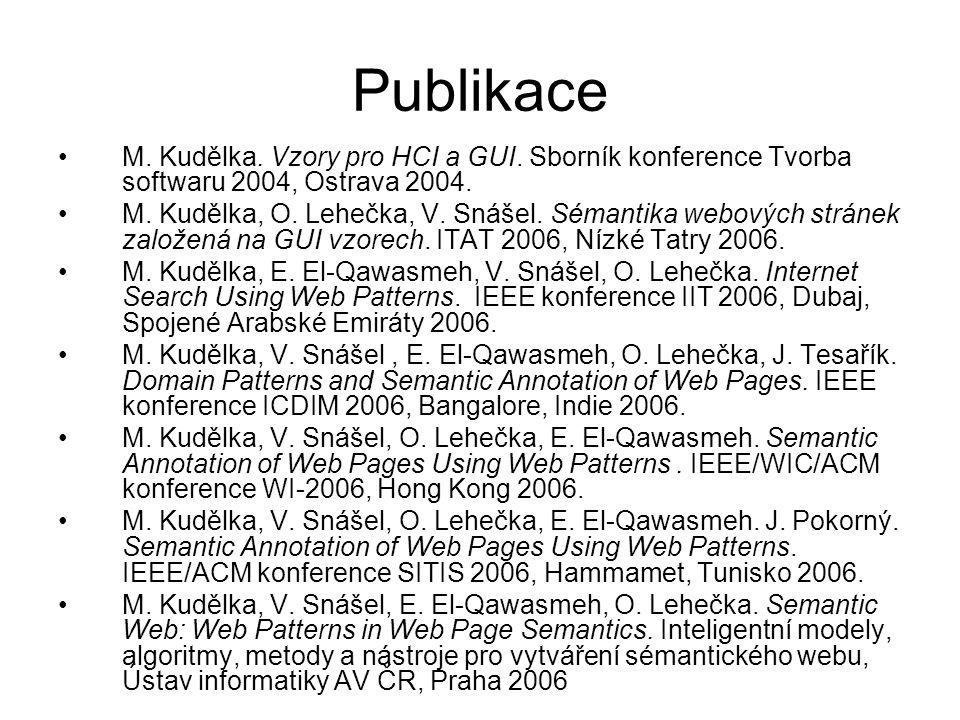 Publikace M. Kudělka. Vzory pro HCI a GUI. Sborník konference Tvorba softwaru 2004, Ostrava 2004.
