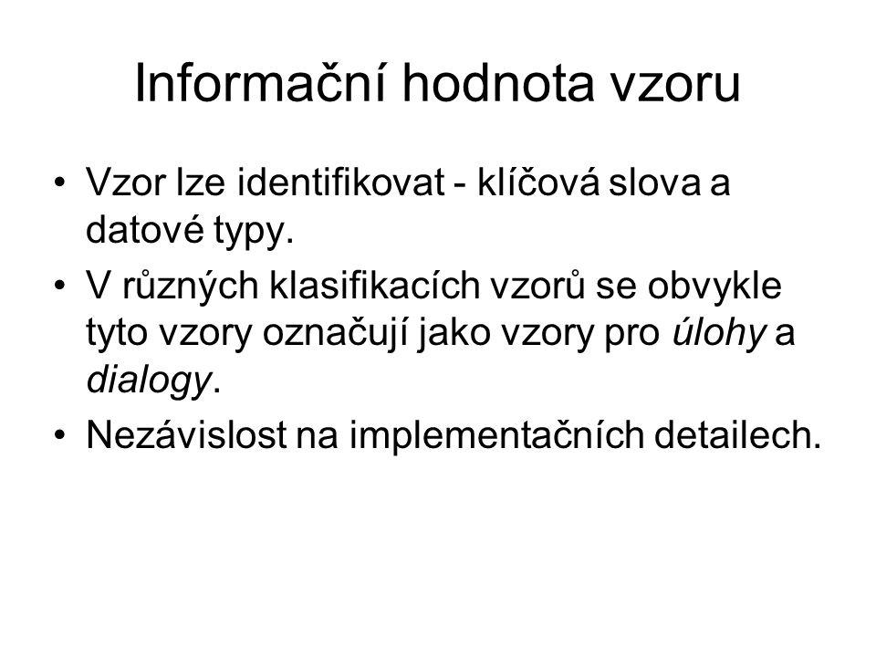 Informační hodnota vzoru Vzor lze identifikovat - klíčová slova a datové typy.