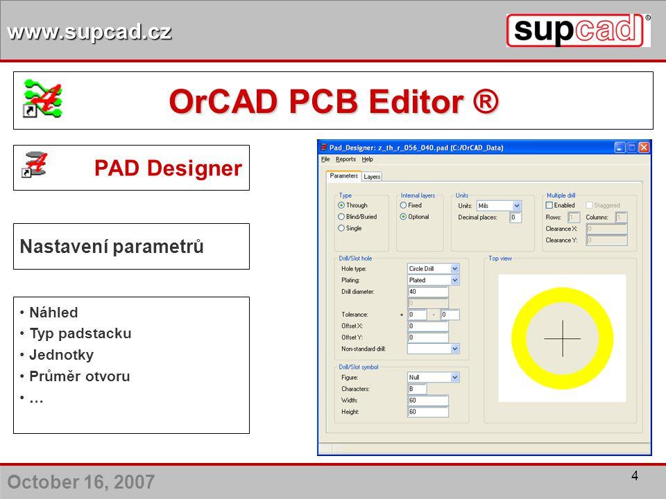 October 16, 2007 www.supcad.cz 4 PAD Designer Nastavení parametrů Náhled Typ padstacku Jednotky Průměr otvoru … OrCAD PCB Editor ®