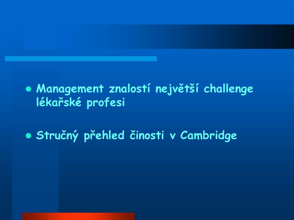 Management znalostí největší challenge lékařské profesi Stručný přehled činosti v Cambridge