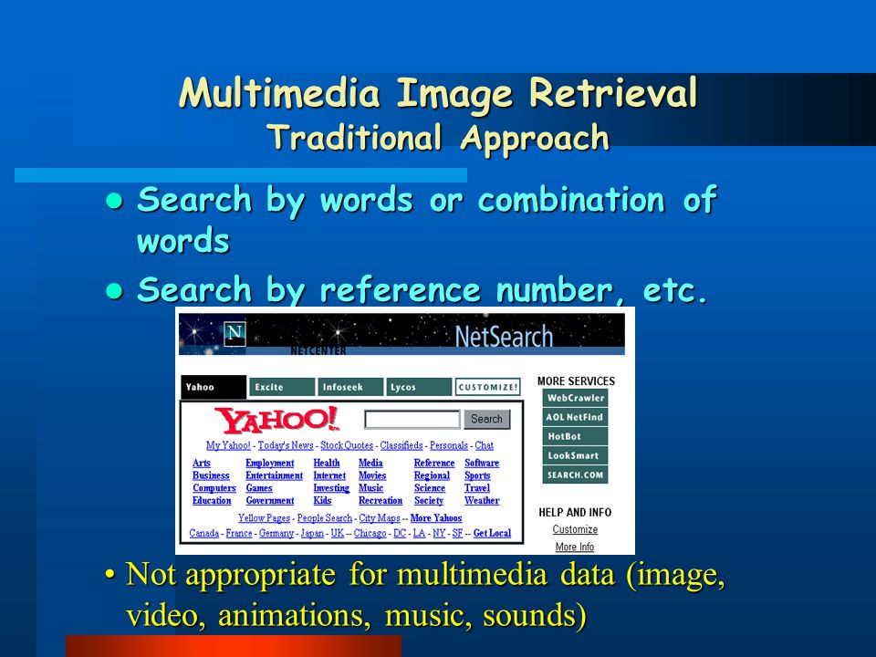 TextualTextual content : free text search VisualVisual content : image features, shapes, color, textures, spatial relationships A B C Audiocontent :Audio content : search by humming..