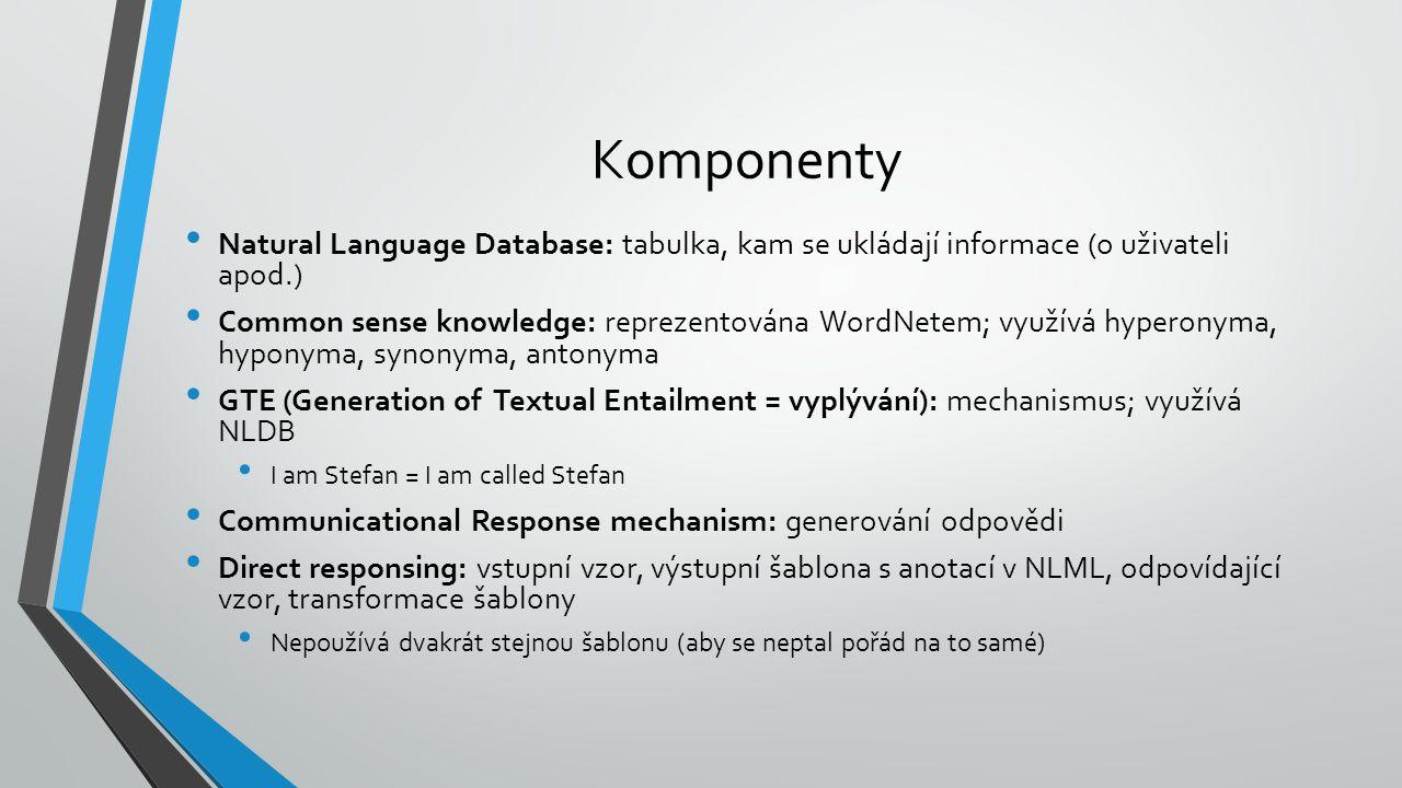 Komponenty Natural Language Database: tabulka, kam se ukládají informace (o uživateli apod.) Common sense knowledge: reprezentována WordNetem; využívá hyperonyma, hyponyma, synonyma, antonyma GTE (Generation of Textual Entailment = vyplývání): mechanismus; využívá NLDB I am Stefan = I am called Stefan Communicational Response mechanism: generování odpovědi Direct responsing: vstupní vzor, výstupní šablona s anotací v NLML, odpovídající vzor, transformace šablony Nepoužívá dvakrát stejnou šablonu (aby se neptal pořád na to samé)