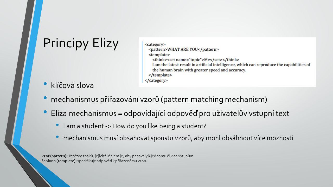 Principy Elizy klíčová slova mechanismus přiřazování vzorů (pattern matching mechanism) Eliza mechanismus = odpovídající odpověď pro uživatelův vstupní text I am a student -> How do you like being a student.