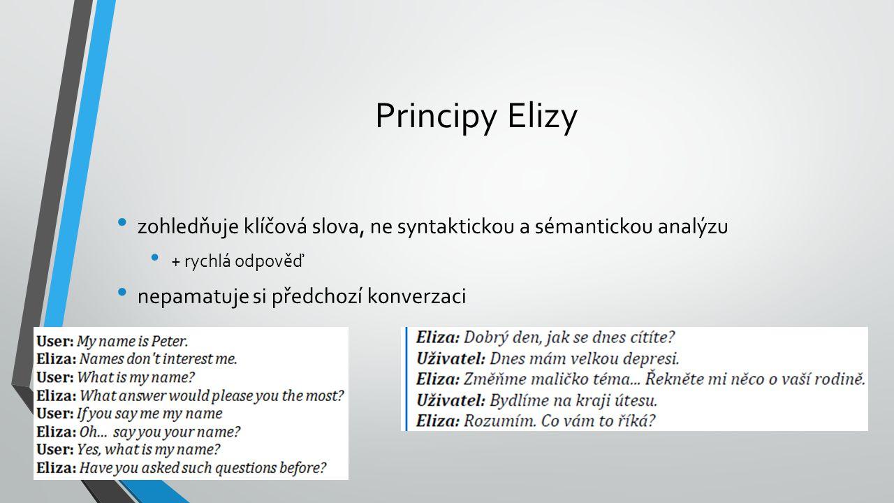 Principy Elizy zohledňuje klíčová slova, ne syntaktickou a sémantickou analýzu + rychlá odpověď nepamatuje si předchozí konverzaci