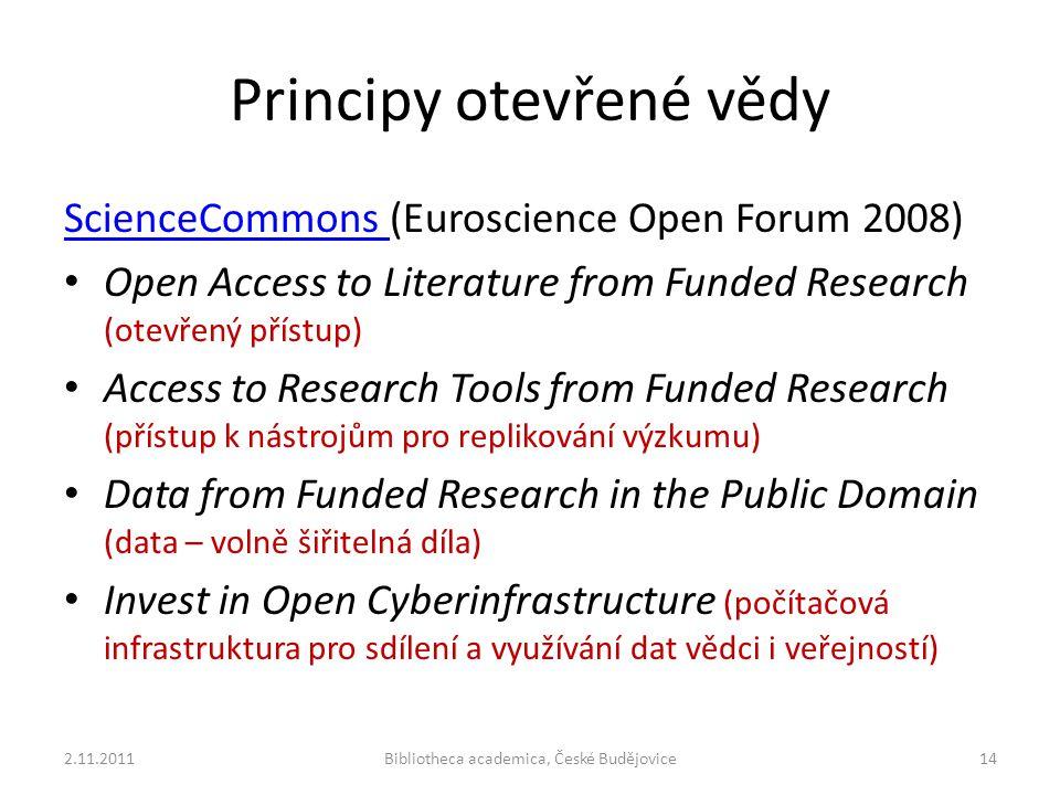 Principy otevřené vědy 2.11.2011Bibliotheca academica, České Budějovice14 ScienceCommons ScienceCommons (Euroscience Open Forum 2008) Open Access to Literature from Funded Research (otevřený přístup) Access to Research Tools from Funded Research (přístup k nástrojům pro replikování výzkumu) Data from Funded Research in the Public Domain (data – volně šiřitelná díla) Invest in Open Cyberinfrastructure (počítačová infrastruktura pro sdílení a využívání dat vědci i veřejností)