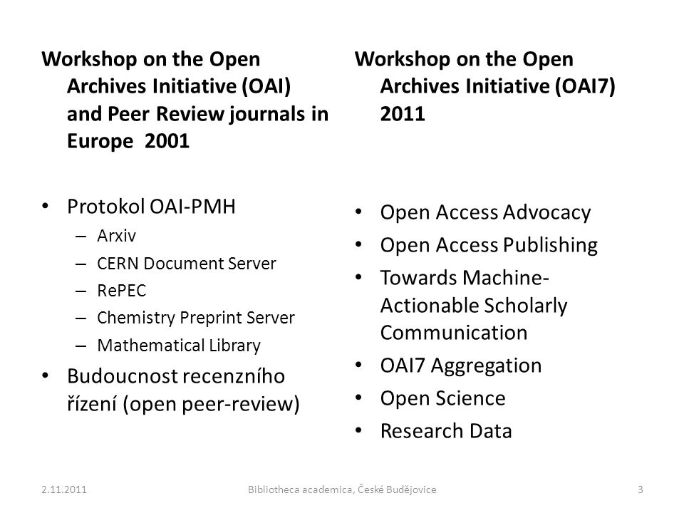 Workshop on the Open Archives Initiative (OAI) and Peer Review journals in Europe 2001 Protokol OAI-PMH – Arxiv – CERN Document Server – RePEC – Chemi