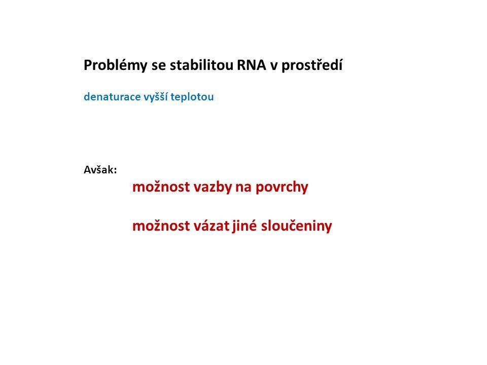 Problémy se stabilitou RNA v prostředí denaturace vyšší teplotou Avšak: možnost vazby na povrchy možnost vázat jiné sloučeniny