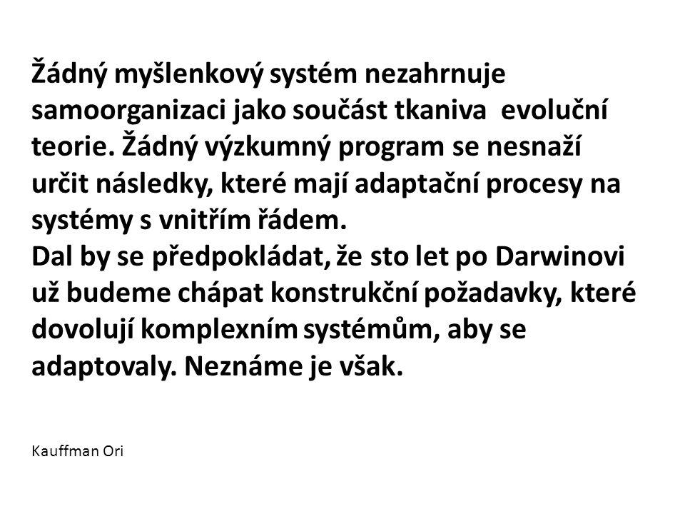 Žádný myšlenkový systém nezahrnuje samoorganizaci jako součást tkaniva evoluční teorie. Žádný výzkumný program se nesnaží určit následky, které mají a