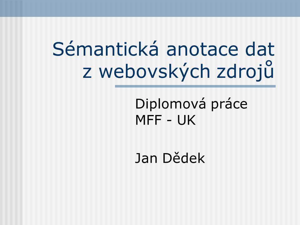 Sémantická anotace dat z webovských zdrojů Diplomová práce MFF - UK Jan Dědek