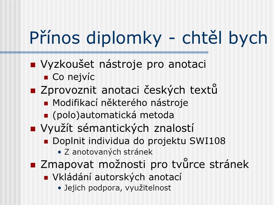 Přínos diplomky - chtěl bych Vyzkoušet nástroje pro anotaci Co nejvíc Zprovoznit anotaci českých textů Modifikací některého nástroje (polo)automatická