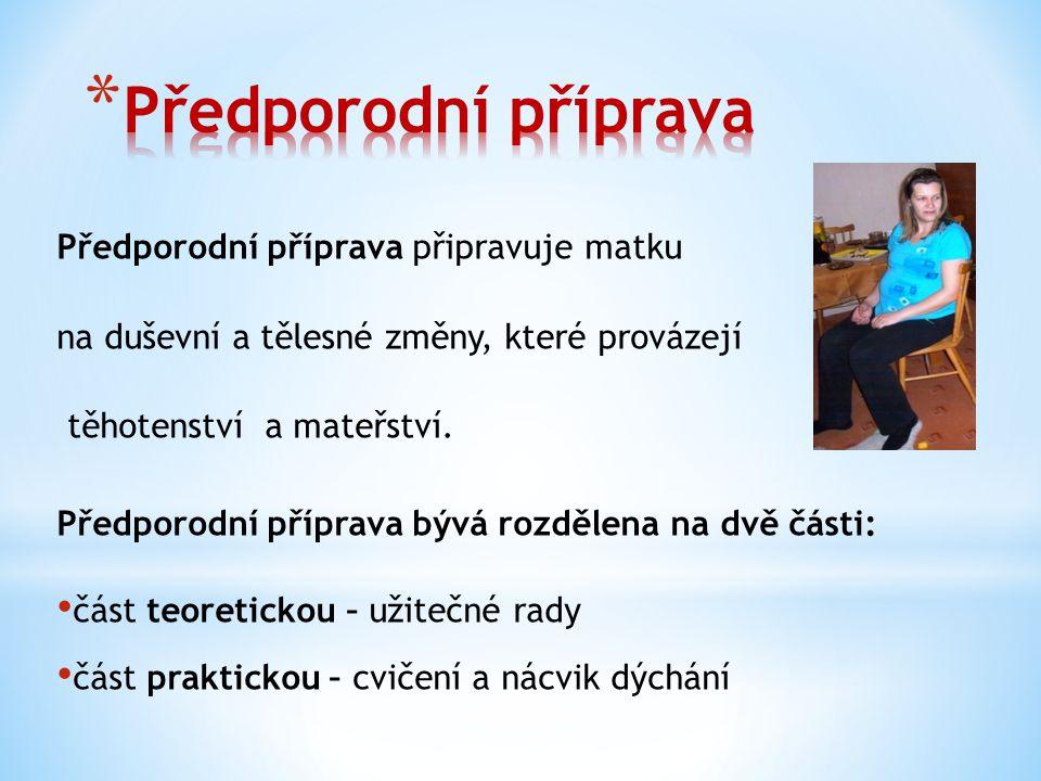 Předporodní příprava připravuje matku na duševní a tělesné změny, které provázejí těhotenství a mateřství.