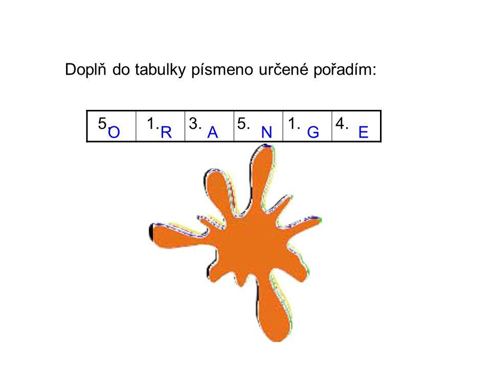 Doplň do tabulky písmeno určené pořadím: ORANGE 5.1.3.5.1.4.
