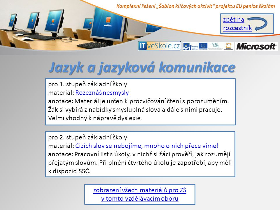 """Komplexní řešení """"Šablon klíčových aktivit projektu EU peníze školám Jazyk a jazyková komunikace pro 1."""