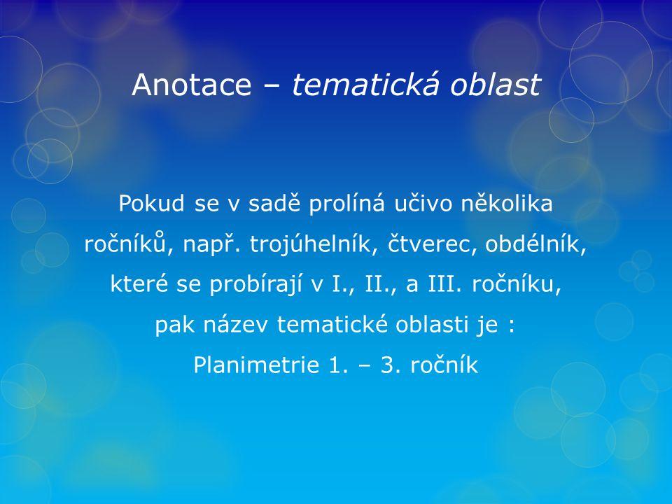 Anotace – tematická oblast Pokud se v sadě prolíná učivo několika ročníků, např.