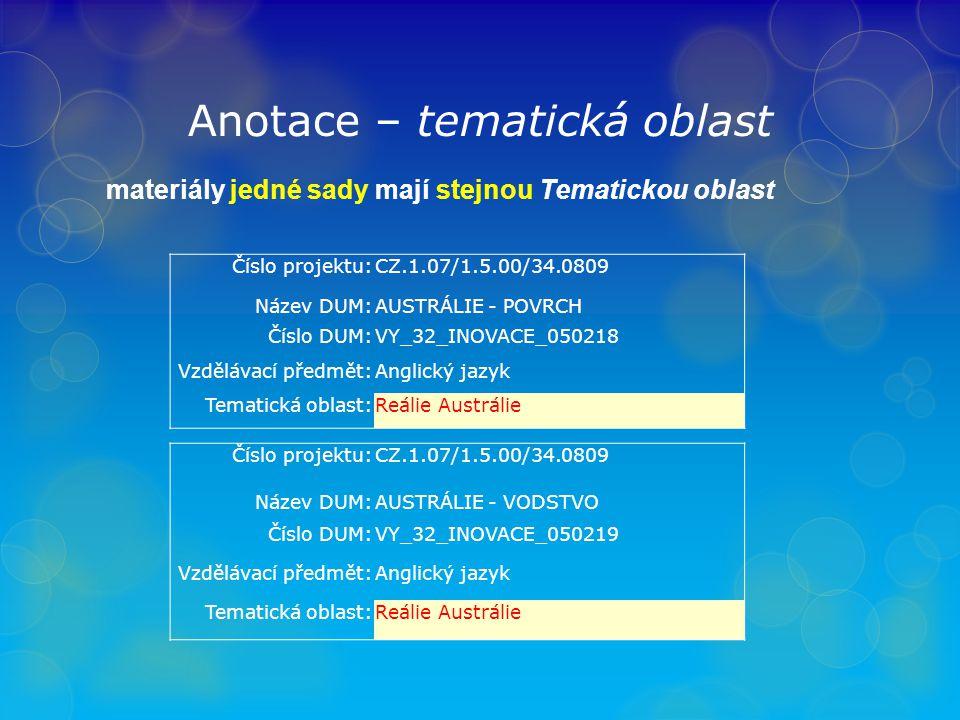 Anotace - anotace stručný popis obsahu materiálu
