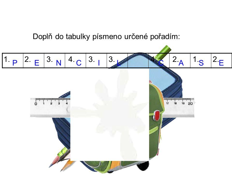 Doplň do tabulky písmeno určené pořadím: PENCIL 1.2.3.4.3. 4.2.1.2. CASE 7 10