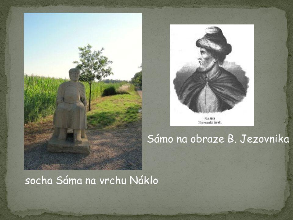 socha Sáma na vrchu Náklo Sámo na obraze B. Jezovnika