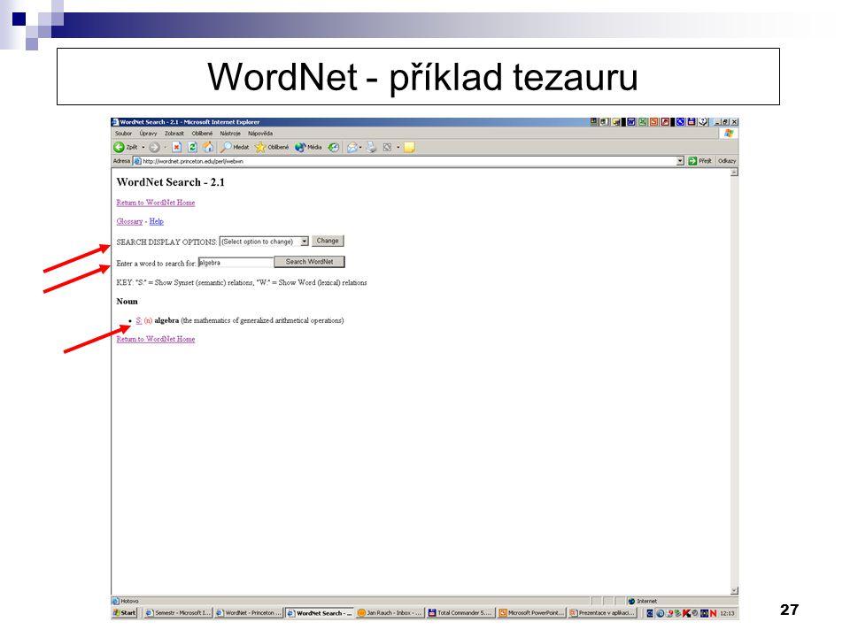 27 WordNet - příklad tezauru