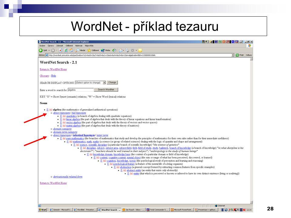 28 WordNet - příklad tezauru