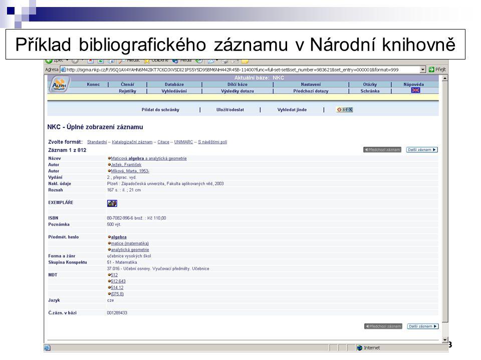 3 Příklad bibliografického záznamu v Národní knihovně