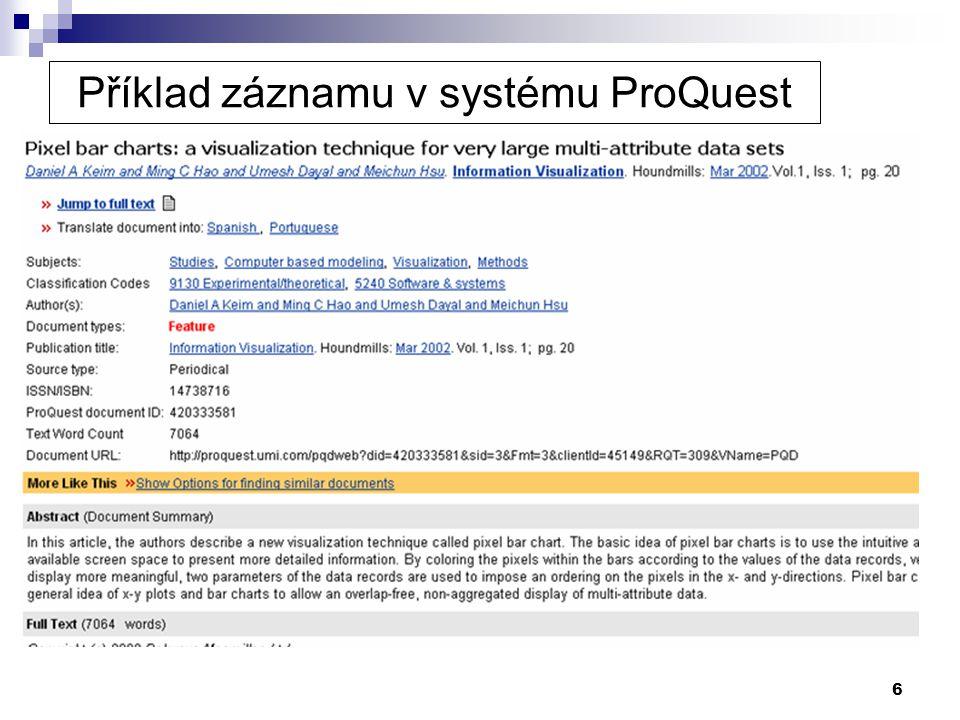 6 Příklad záznamu v systému ProQuest