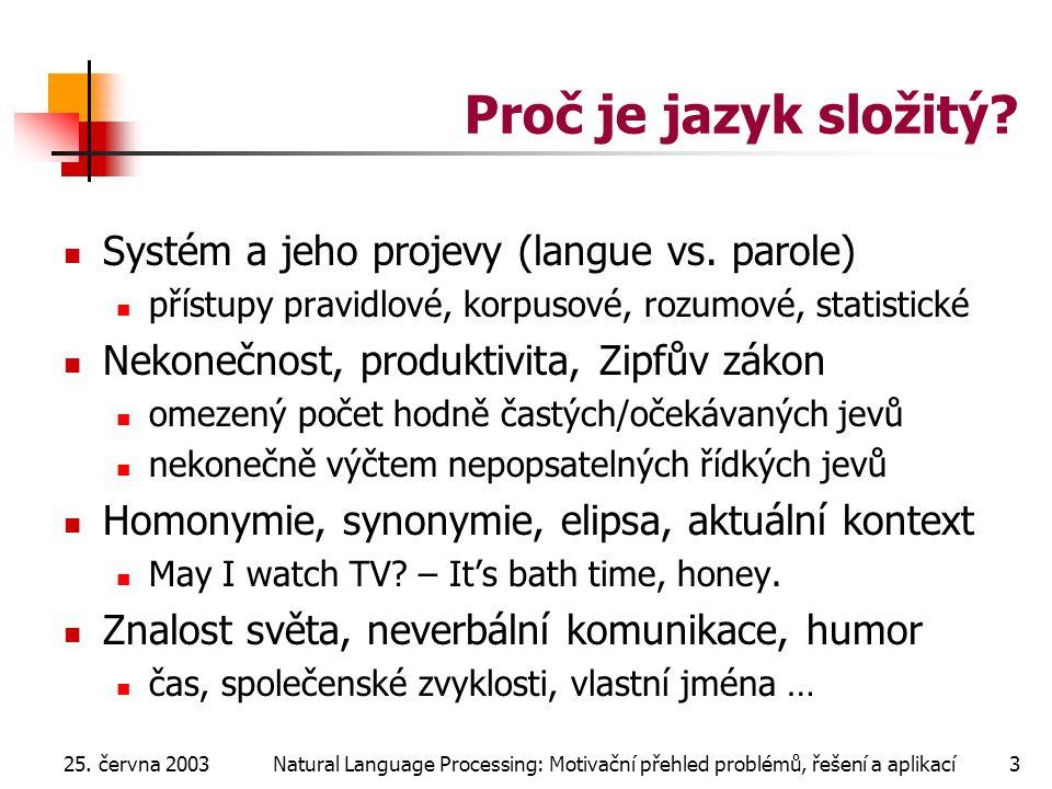 25. června 2003Natural Language Processing: Motivační přehled problémů, řešení a aplikací3 Proč je jazyk složitý? Systém a jeho projevy (langue vs. pa