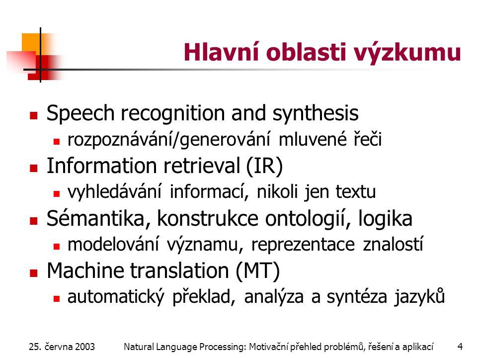 25. června 2003Natural Language Processing: Motivační přehled problémů, řešení a aplikací4 Hlavní oblasti výzkumu Speech recognition and synthesis roz