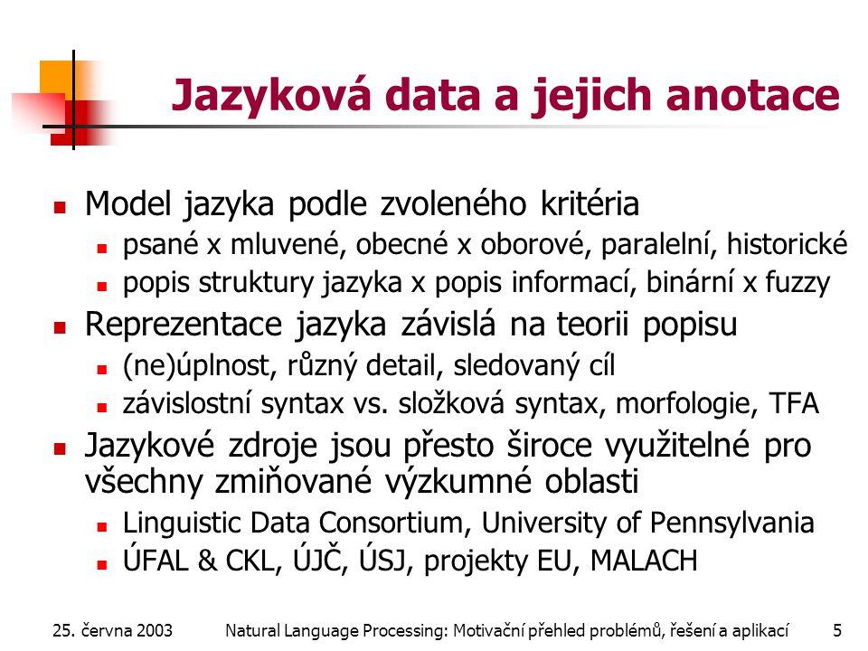 25. června 2003Natural Language Processing: Motivační přehled problémů, řešení a aplikací5 Jazyková data a jejich anotace Model jazyka podle zvoleného