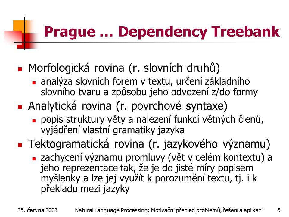25. června 2003Natural Language Processing: Motivační přehled problémů, řešení a aplikací6 Prague … Dependency Treebank Morfologická rovina (r. slovní