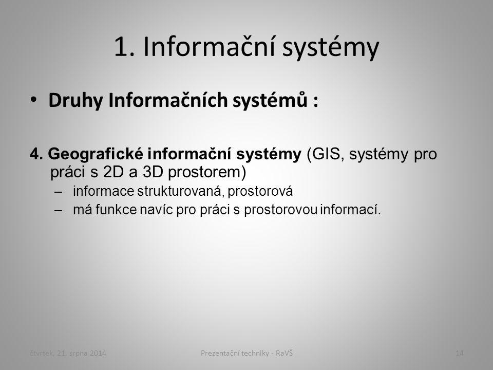 1. Informační systémy Druhy Informačních systémů : 4. Geografické informační systémy (GIS, systémy pro práci s 2D a 3D prostorem) –informace strukturo