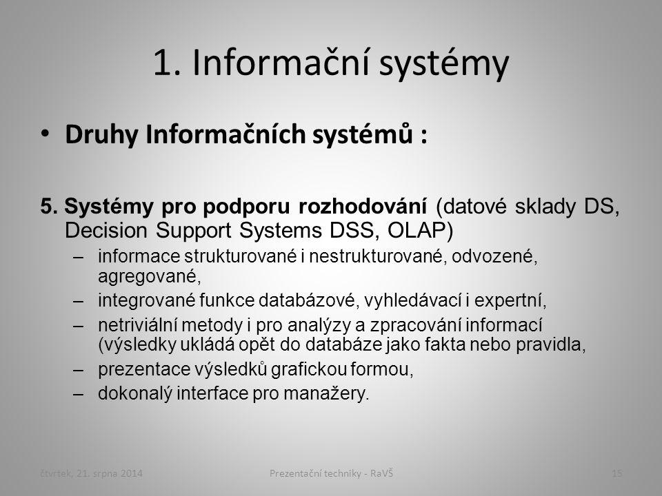 1. Informační systémy Druhy Informačních systémů : 5. Systémy pro podporu rozhodování (datové sklady DS, Decision Support Systems DSS, OLAP) –informac