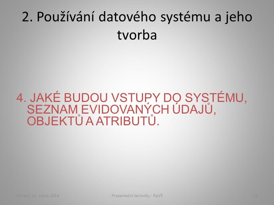 2. Používání datového systému a jeho tvorba 4. JAKÉ BUDOU VSTUPY DO SYSTÉMU, SEZNAM EVIDOVANÝCH ÚDAJŮ, OBJEKTŮ A ATRIBUTŮ. čtvrtek, 21. srpna 201421Pr