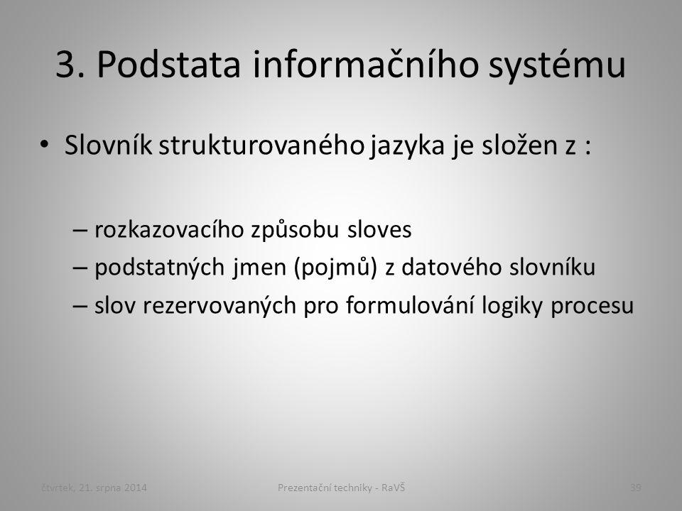 3. Podstata informačního systému Slovník strukturovaného jazyka je složen z : – rozkazovacího způsobu sloves – podstatných jmen (pojmů) z datového slo