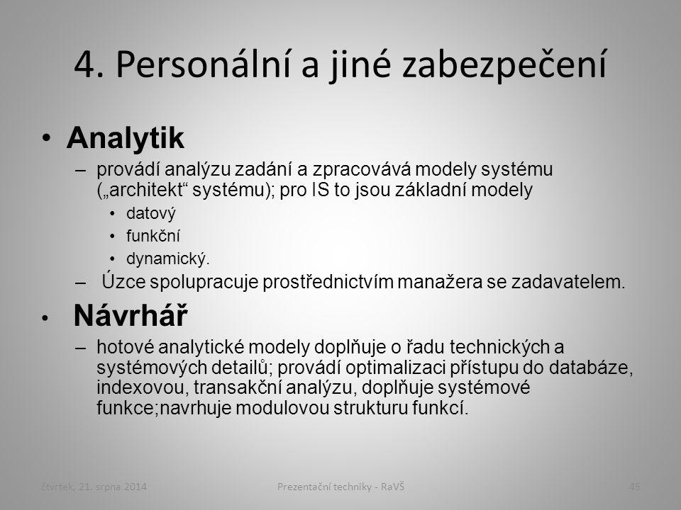 """4. Personální a jiné zabezpečení Analytik –provádí analýzu zadání a zpracovává modely systému (""""architekt"""" systému); pro IS to jsou základní modely da"""