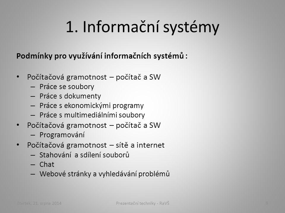 1. Informační systémy Podmínky pro využívání informačních systémů : Počítačová gramotnost – počítač a SW – Práce se soubory – Práce s dokumenty – Prác