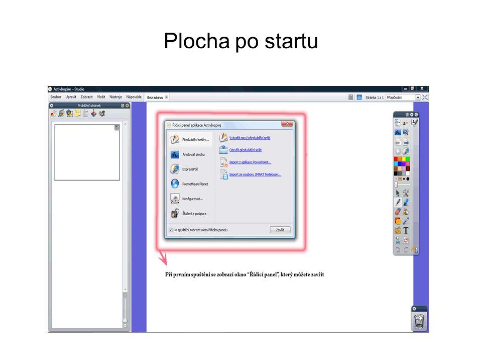 Vlevo stránky výkladu, uprostřed PANEL NÁSTROJŮ