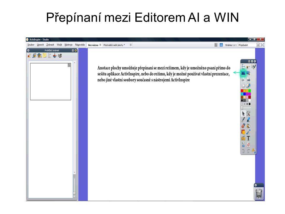 Editor AI – kreslení, psaní, objekty …..