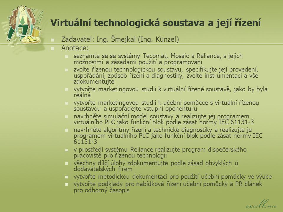 Virtuální technologická soustava a její řízení Zadavatel: Ing.