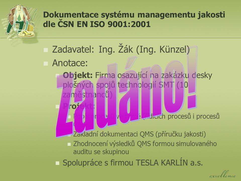 Dokumentace systému managementu jakosti dle ČSN EN ISO 9001:2001 Zadavatel: Ing.
