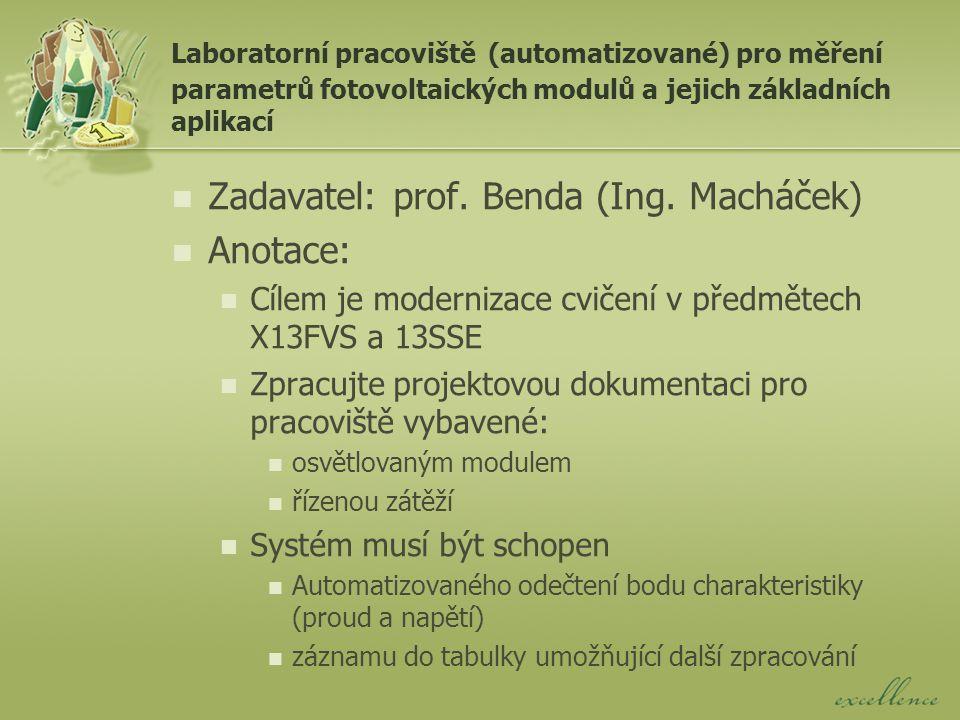 Laboratorní pracoviště (automatizované) pro měření parametrů fotovoltaických modulů a jejich základních aplikací Zadavatel: prof.