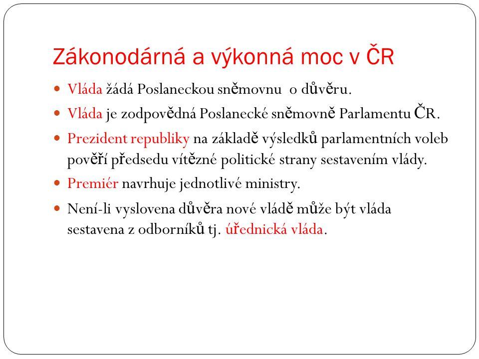 Zákonodárná a výkonná moc v ČR Vláda žádá Poslaneckou sn ě movnu o d ů v ě ru.